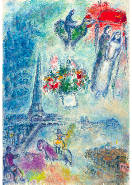 """Marc Chagall """"The bridegrooms in the sky of Paris"""", 1980/81 bei Galerie Boulakia"""