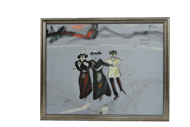 "Madeleine Pyk f. 1934. ""Distraction Driver"" Sign M. Pyk, olja på duk 35x45cm. Utropspris 14 000 SEK."