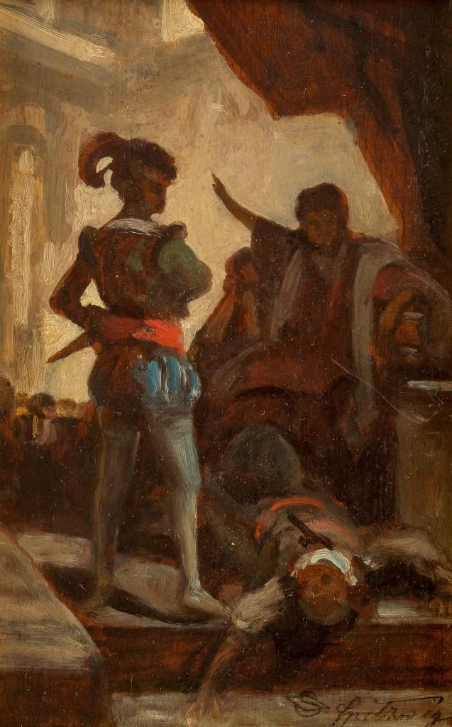 CARL SPITZWEG (1808 München - 1885 ebenda) - Tod des Verschwörers (Komödianten), Öl/Holz, 21 x 14 cm, signiert, um 1845 Limitpreis: 8.000 EUR