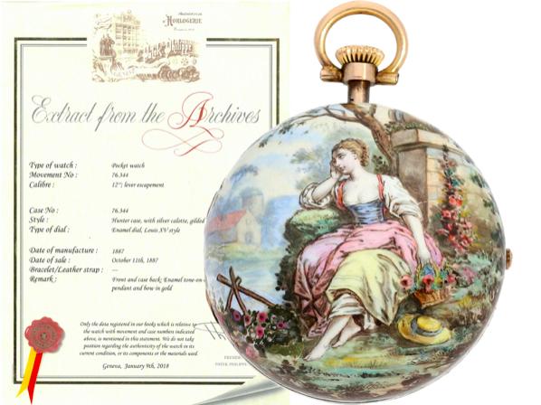 Patek Philippe, orologio da taschino con decorazione in smalto, 1887. Foto: Cortrie