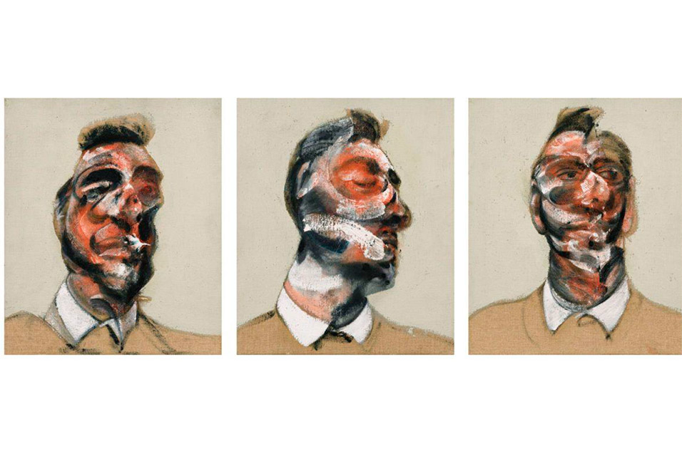 Francis Bacon. Three Studies for Portrait of George Dyer (on light ground), 1964.