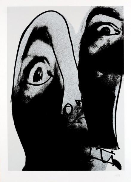 Antonio Saura, ur serien Moi (1976), serigrafi på papper. Undertecknat i nedre högra hörnet, numrerat (11/60) i nedre vänstra hörnet.
