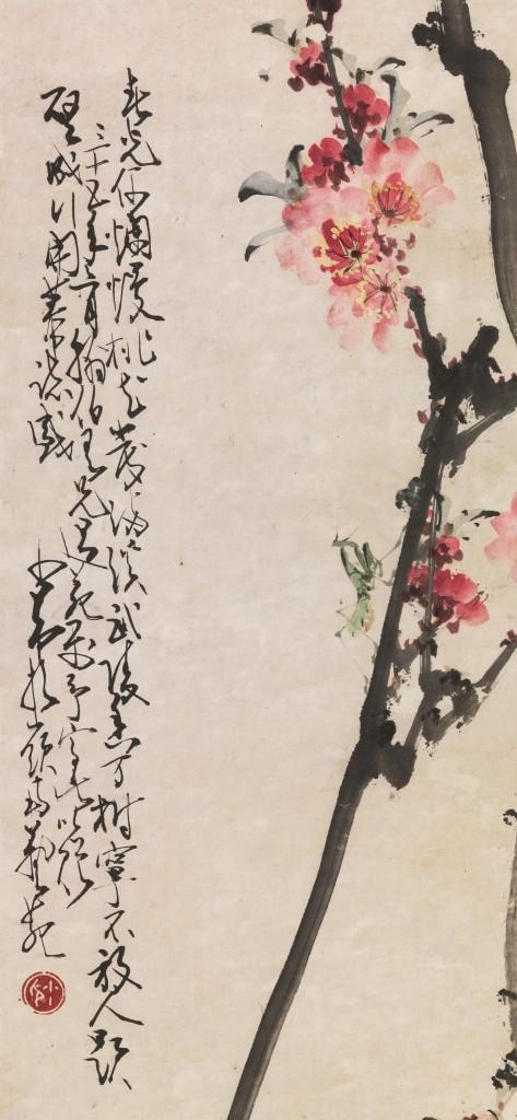ZHAO SHAO'ANG (1905-1998) attr. - Pflaumen, Blüten und Grashüpfer, Tuschmalerei auf Papierrolle, 91x31,5 cm, China 20. Jh. Schätzpreis: 10.000-15.000 EUR