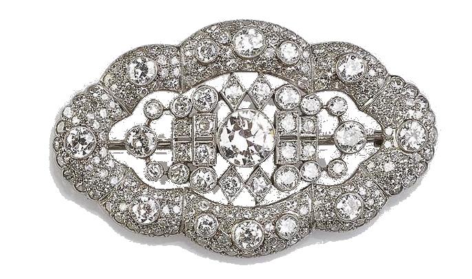 Jugendstil-Brosche aus Platin mit Brillanten und weiteren Diamanten (zus. ca. 6,35 ct), um 1900 Schätzpreis: 3.600 EUR