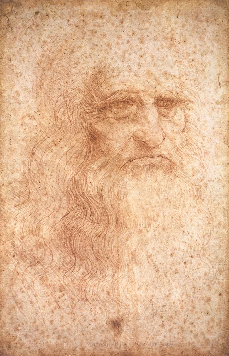 Self-portrait of Leonardo da Vinci, c. 1512. Photo: Biblioteca Reale, Turin