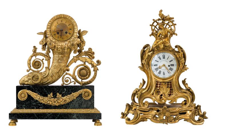 Gauche : rare pendule de table en bronze ciselé et doré, base en marbre vert / Droite: pendule en bronze à décor de fleurs surmontée d'un personnage, images ©Della Rocca