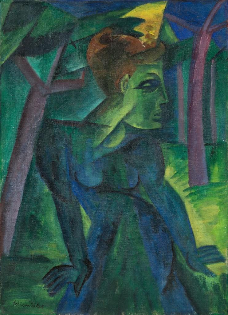 CONRAD FELIXMÜLLER (Dresden 1897 – 1977 Berlin) - Frau im Wald (Wiesbaden), Öl/Lwd., betitelt, nummeriert und signiert, 1918
