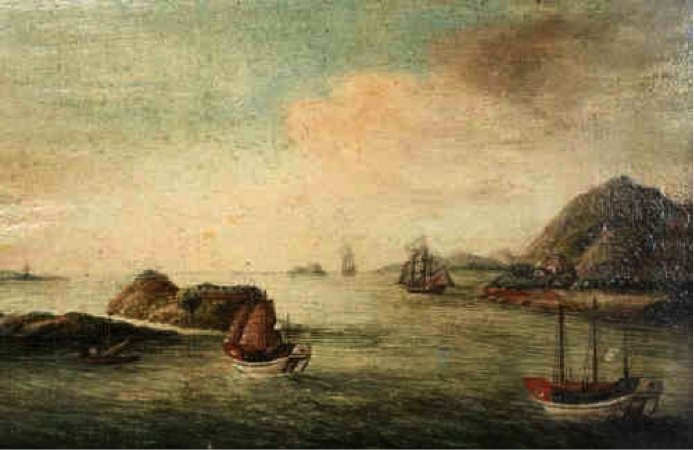 View of the Boca Tigris, circa 1820, oil on canvas, 11x16cm. Image courtesy of Thomas Watson Auctioneers