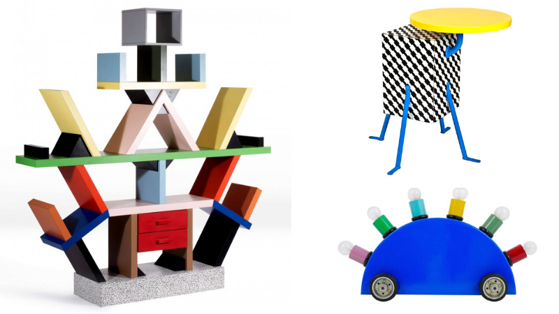 Left: Ettore Sottsass, the 'Carlton' Bookcase, 1981. Photo: Artcurial. Top right: Michele De Lucchi, 'Kristall' Table, 1981. Photo: Bruun Rassmussen. Bottom right: Martine Bedin, 'Super' Lamp, 1981. Photo: 1stdbs.com