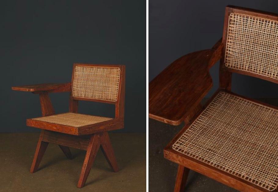 PIERRE JEANNERET (1896-1967) - Stuhl mit Schreibplatte, um 1960, Teak, Korbgeflecht