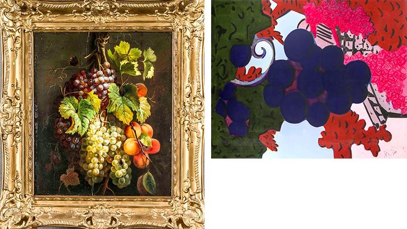Links: CORNELIS VAN SPAENDONCK (1756-1840) - Früchtestillleben mit Trauben, Öl/Holz, signiert und datiert, 1833 Rechts: HUBERT SCHMALIX (*1952) - Weinrebe, Öl/Lwd., signiert und datiert, 2003
