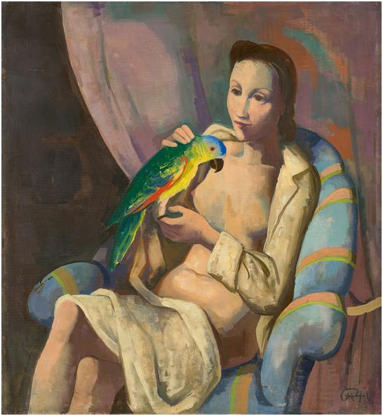 """KARL HOFER (1878 Karlsruhe - 1955 Berlin) - """"Frau mit Papagei"""", olja på canvas, 100,5 x 91,5 cm. Med monogram och signerad, 1940. Utropspris: 2,3 - 3,2 miljoner kronor."""