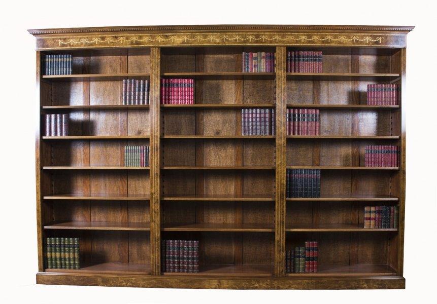 Bespoke Sheraton Revival Burr Walnut & Marquetry Open Bookcase. Photo: Regent Antiques