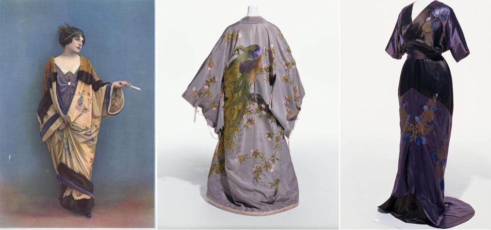 Links: Kleid und Mantel von LAFERRIÈRE in Les Modes, Oktober 1912 Mitte: IIDA TAKASHIMAYA - Kimono, Kyoto um 1904-08 Rechts: CALLOT SOEURS - Abendkleid, um 1908 Beide im Kyoto Costume Institute