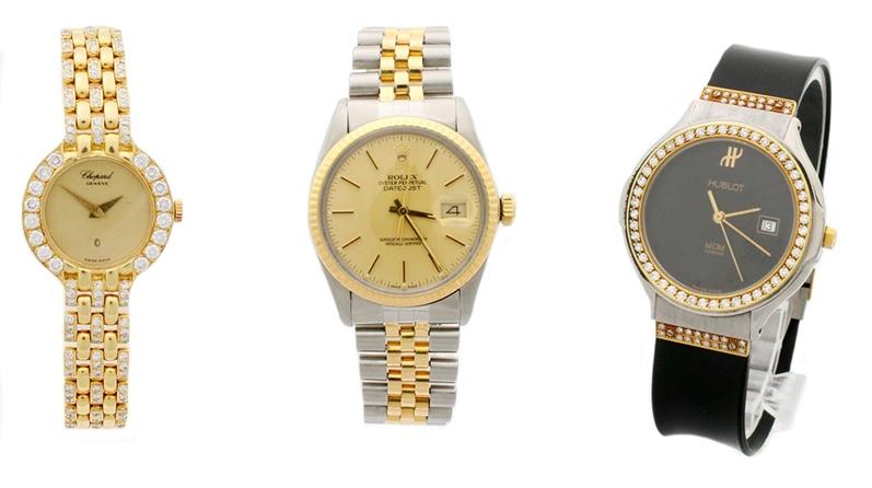 Links: CHOPARD Lady, Gelbgold mit Diamanten Mitte: ROLEX Datejust aus Edelstahl und Gelbgold Rechts: HUBLOT MDM Armbanduhr aus Gelgold und Edelstahl mit Diamanten und Kautschuk