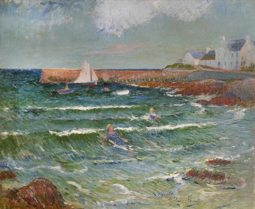 Henri Moret Baignade de mer à Lomener, circa 1889  Huile sur toile  Signée et située en bas à droite