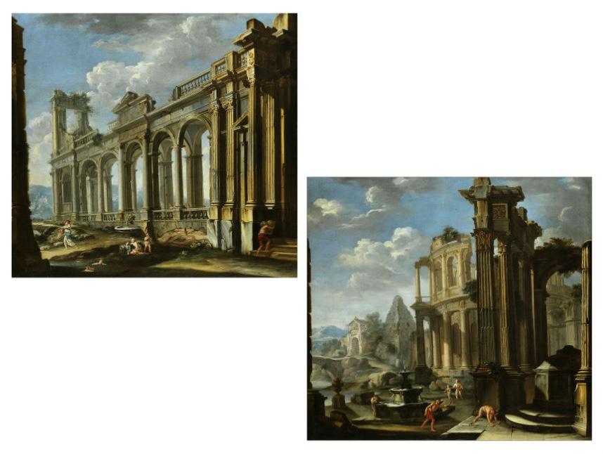 """GIOVANNI PAOLO PANINI (1691 Piacenza - 1765 Rom) - Gemäldepaar """"Capriccio Architettonico mit antiken Ruinen"""" und Spielende Kinder an einem Wasserlauf"""", Öl/Lwd., je 122 x 130 cm Schätzpreis: 300.000-500.000 EUR"""