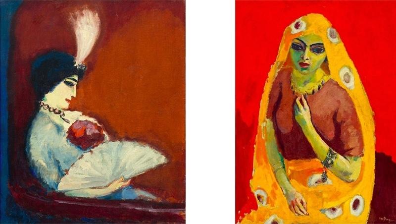 """Vänster: Kees van Dongen, """"Portrait de femme."""" Cirka 1913. Höger: Kees van Dongen, """"Rouge et Jaune (L'Egyptienne)"""", 1910-11."""