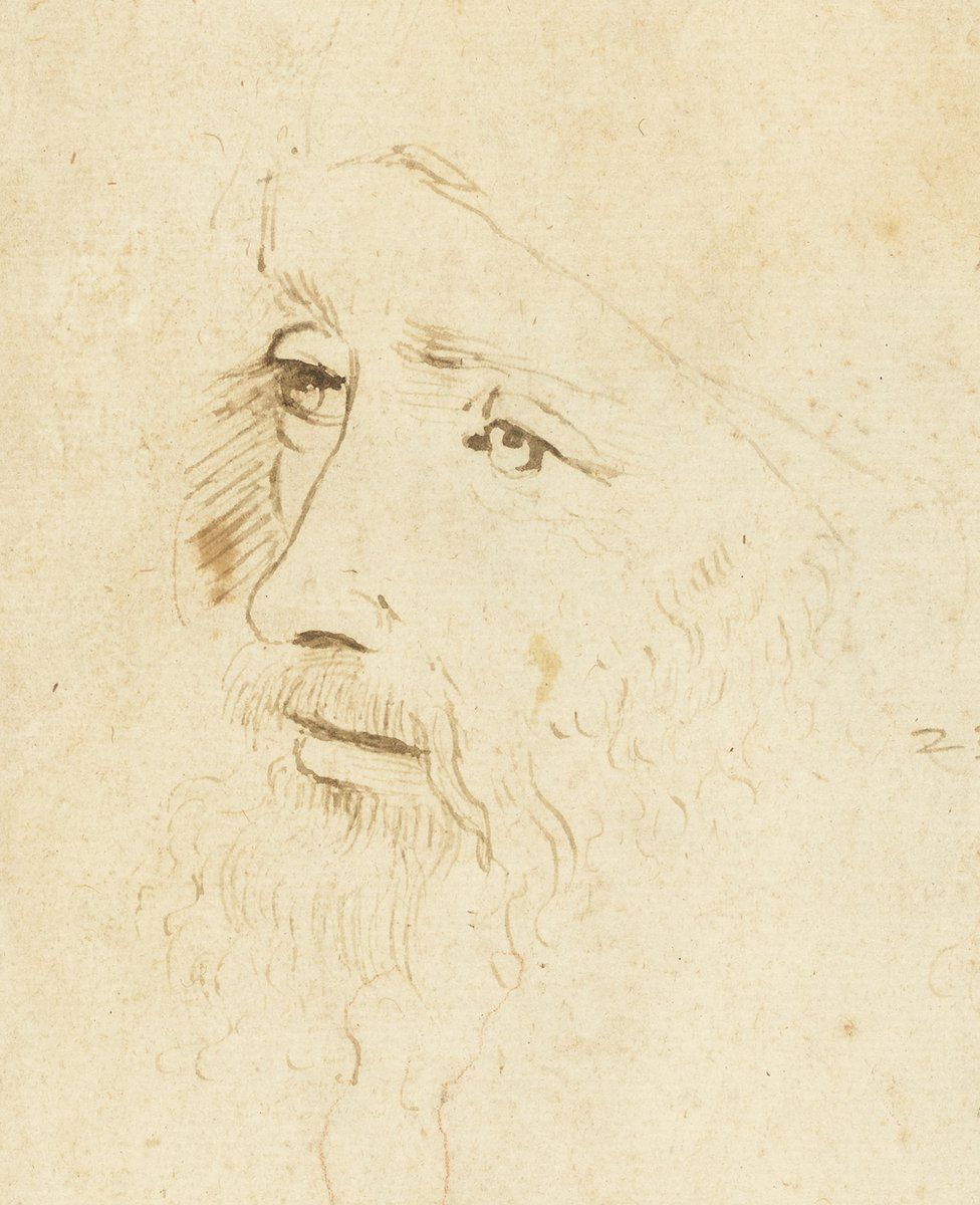 Possible portrait of Leonardo da Vinci on a sketch sheet in the Royal Collection (detail) | Photo: Royal Collection Trust via BBC