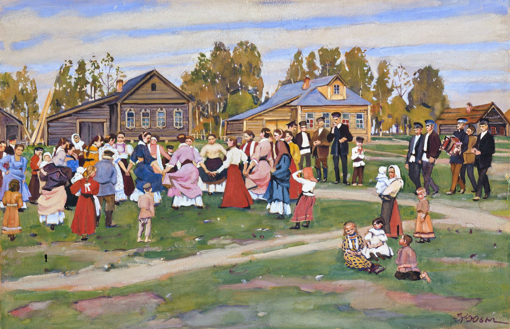 KONSTANTIN FJODOROWITSCH JUON (1875 Moskau 1958) - Dorffest, Aquarell u. Gouache/Papier/Karton, signiert