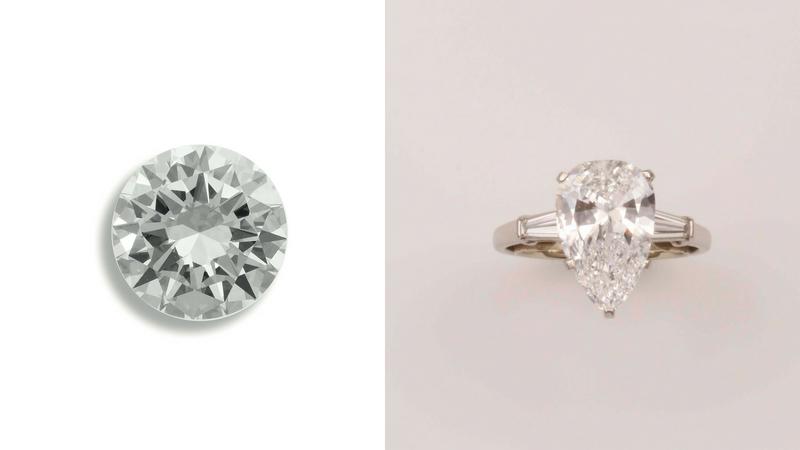 Gauche : diamant taillé de 6 carats / Droite : un diamant solitaire taillé en poire monté sur un anneau