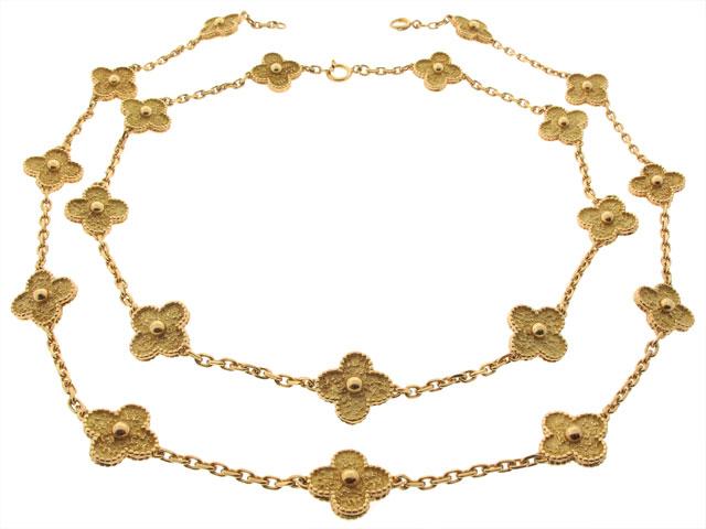 Van Cleef & Arpels, sautoir Alhambra en or jaune perlé 18K.