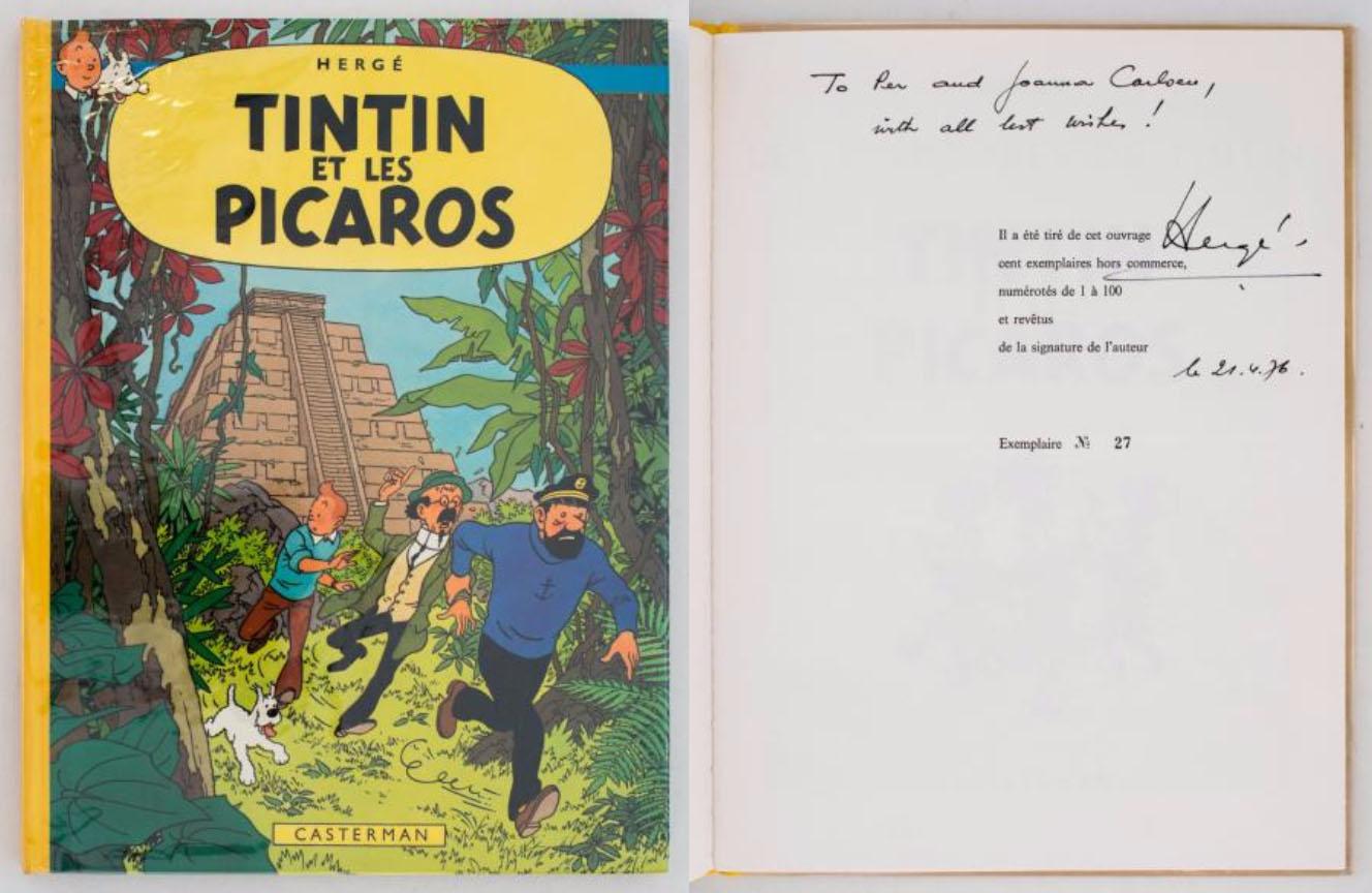 Tintin et les Picaros - Tirage de Tête Rarissime édition limitée à 100 exemplaires. Album numéro 27 agrémenté de 2 lignes de dédicace