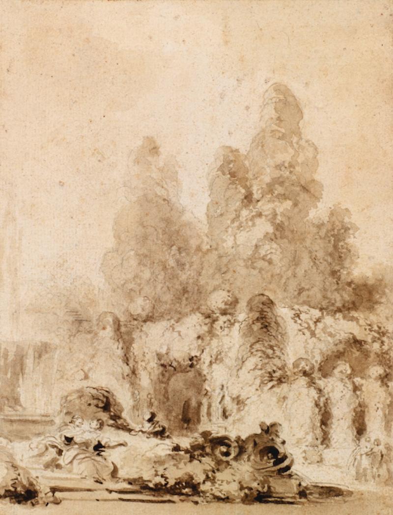 Jean-Honoré Fragonard, Par i en park. Utrop: 25.000 - 35.000 €