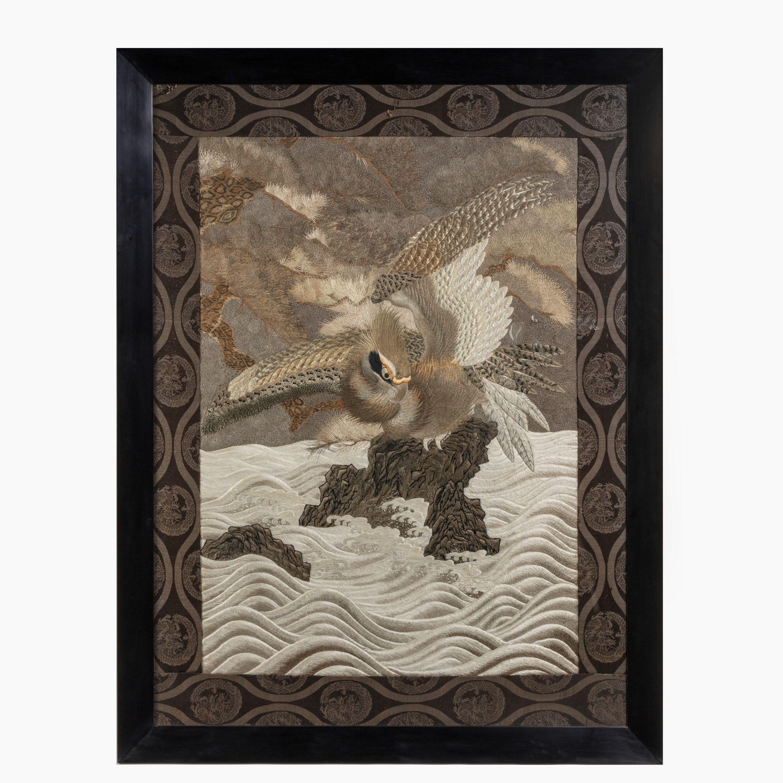 Meiji-period Silk Embroidery of a Sea Eagle. Photo: Wick Antiques