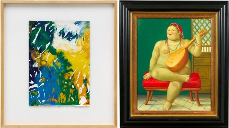 "Vänster: Gerhard Richter, ""Untitled"". Höger: Fernando Botero, ""Odalisque"". Foton: Dorotheum."