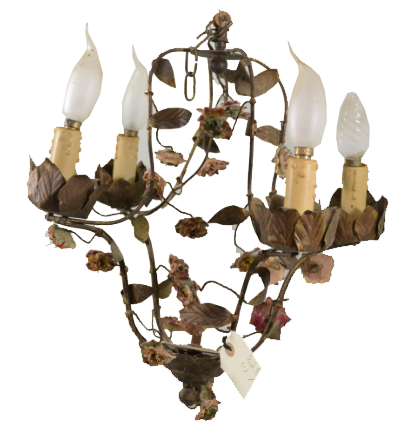 Lustre florentin avec des fleurs en porcelaine Rops