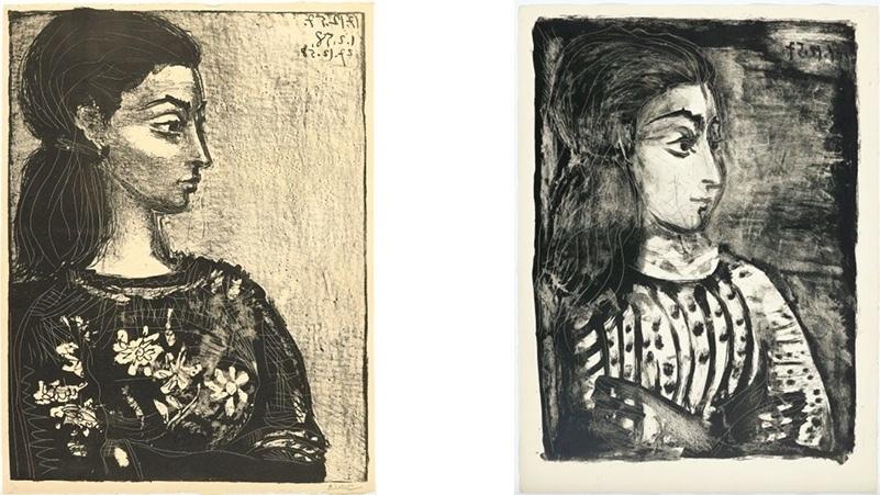 """Vänster: Pablo Picasso, """"Femme au corsage à fleurs"""". Höger: Pablo Picasso, """"Jacqueline de profil""""."""