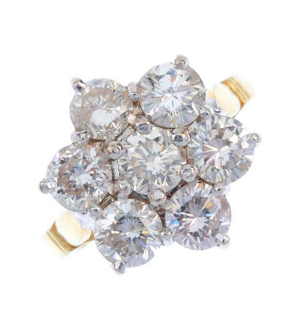 Bague fleur en diamants sur monture en or Fellows