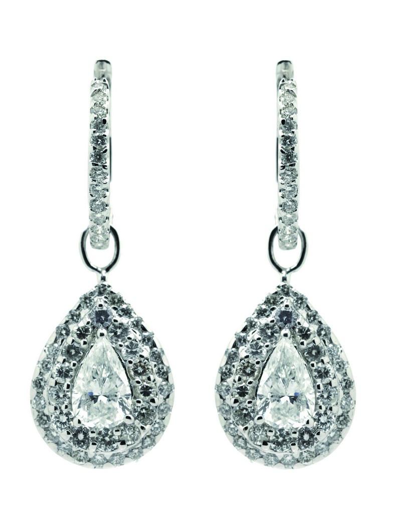 Pendientes criolla en oro blanco con diamantes