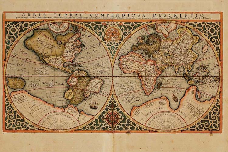 MAP MERCATOR, RUMOLD. Orbis Terrae Compendiosa. Estimate $3,000 - $5,000. Photo via Doyle New york