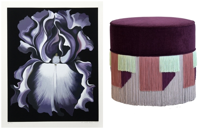 "Left: LOWELL BLAIR NESBITT. ""White and Violet Iris"" (1982). Photo: RoGallery Online. Right: LORENZA BOZZOLI DESIGN. Pouffe in beech wood upholstered in violet velvet and geometric fringe decoration. Photo: Artemest."