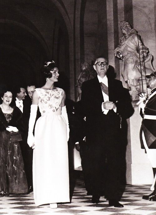 Jackie Kennedy wearing a Givenchy gown at Versailles, 1961