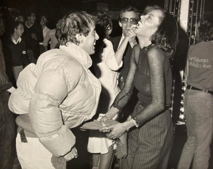 Two large scale photographs of Diana Ross (singer/actor), Steve Rubell (entrepreneur/co-owner of Studio 54) and guests at Studio 54
