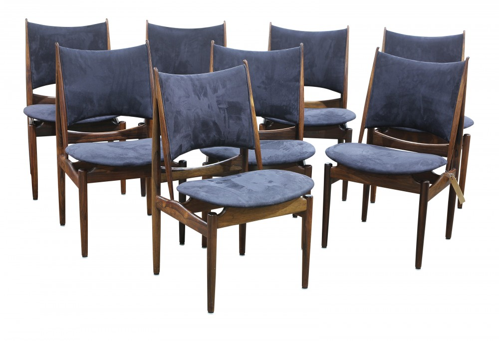 Eight Egyptian rosewood chairs