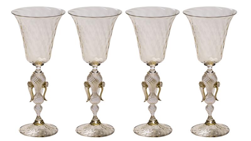 Champagneglas, fyra stycken, formgivna av Fabiano Amadi. Murano. Köp direkt hos Artemest