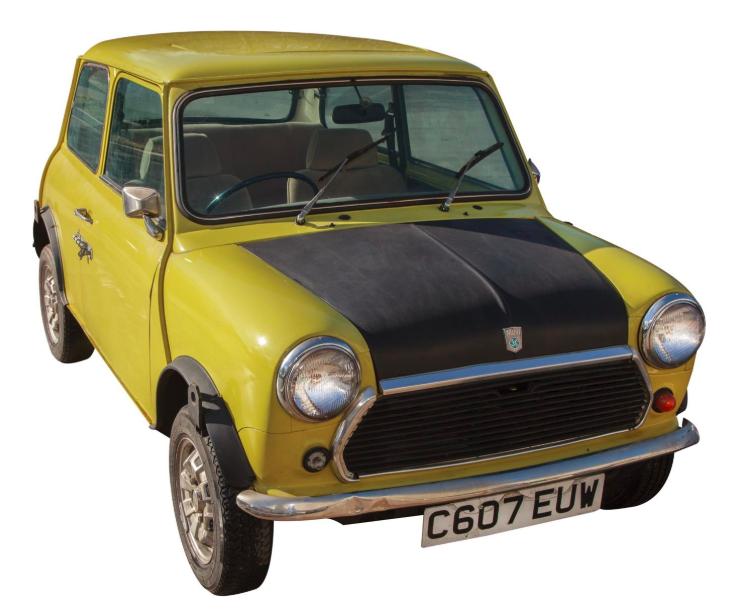 British Leyland Mini 1000, kördes av Rowan Atkinson i filmen Mr Bean.