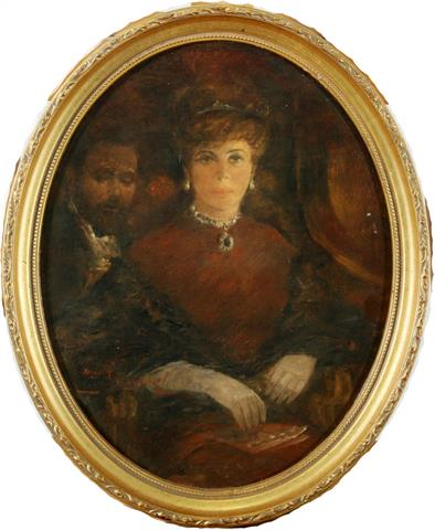"""Damenportrait"", Öl/Holz, 30x23,5 cm, signiert Startpreis: 600 EUR"