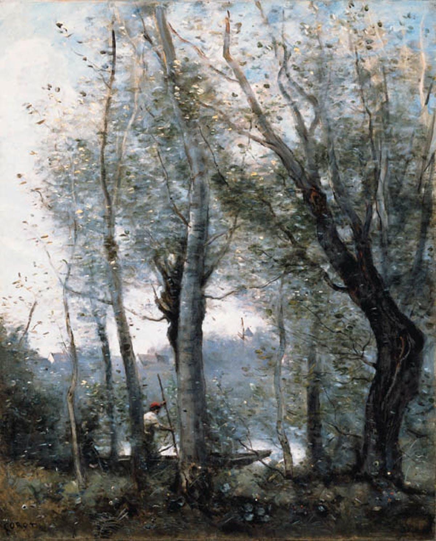 """JEAN-BAPTISTE COROT. """"Le Batelier Passant Derrière Les Arbres De La Rive"""". Óleo sobre lienzo (1865-70)."""