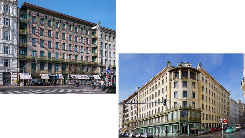 Links: Majolikahaus (1898) Rechts: Wienzeilenhäuser (1898) | Beide Abbildungen: Thomas Ledl/Wikipedia