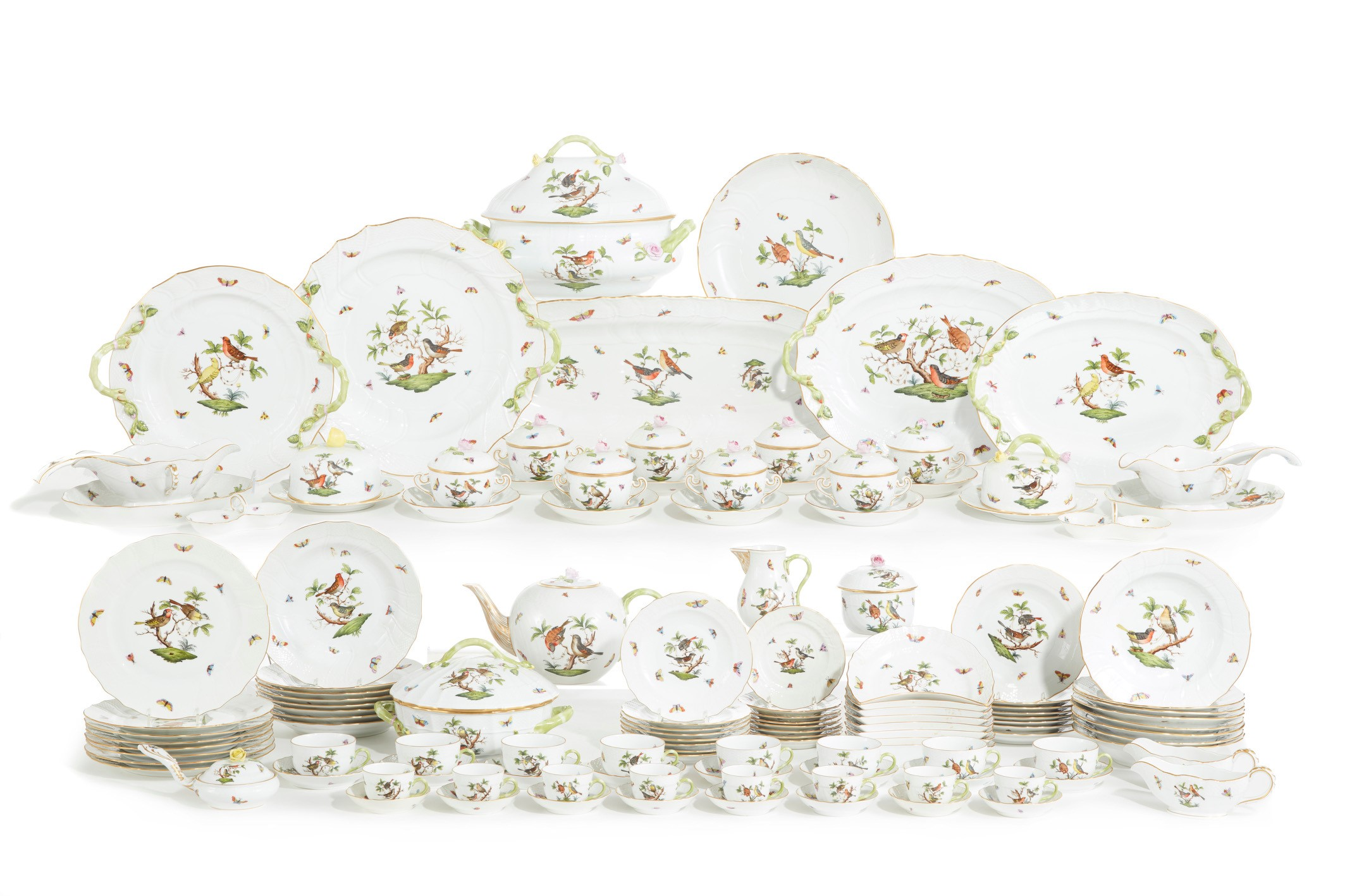 An extensive forty-three lot Herend dinner service in the Rothschild Bird pattern from the collection of Fima Ruchman has estimates ranging from $150-250 to $1,500-2,000.