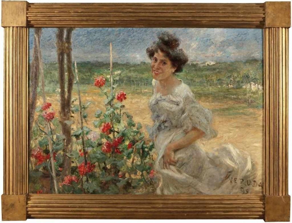 UMBERTO VERUDA (1868 Triest - 1904 ebenda) - Junge Frau im Rosengarten, Öl/Lwd., 110x158 cm, signiert und datiert, 1899 Aufrufpreis: 25.000 EUR
