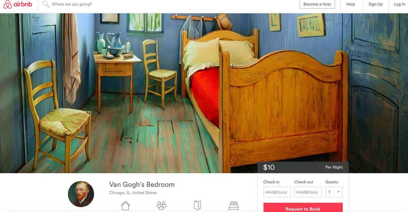 """Bo i rummet """"Vincent"""". Bild via Airbnb"""