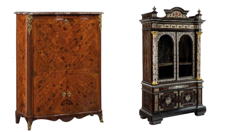 Gauche : P. Roussel, secrétaire laquée incrusté de motifs, 1745 / Droite: cabinet en bois noirci avec inserts en ivoire et en pierre semi-précieuse, images ©Della Rocca