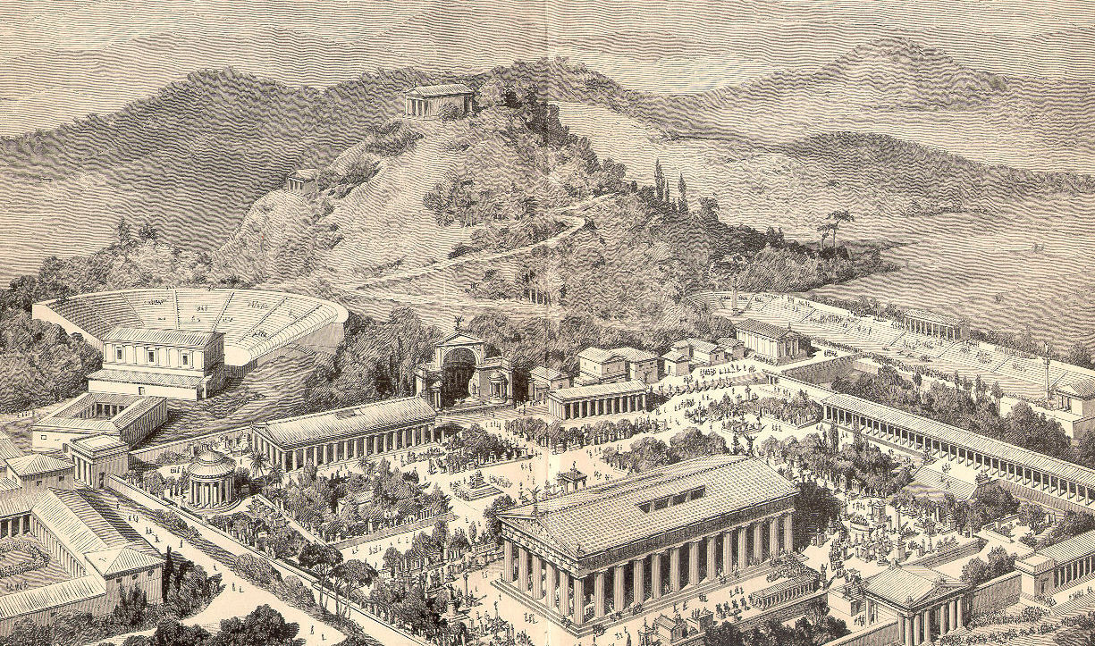 Drawing of Ancient Olympia, from Pierers Universal Dictionary (1891).