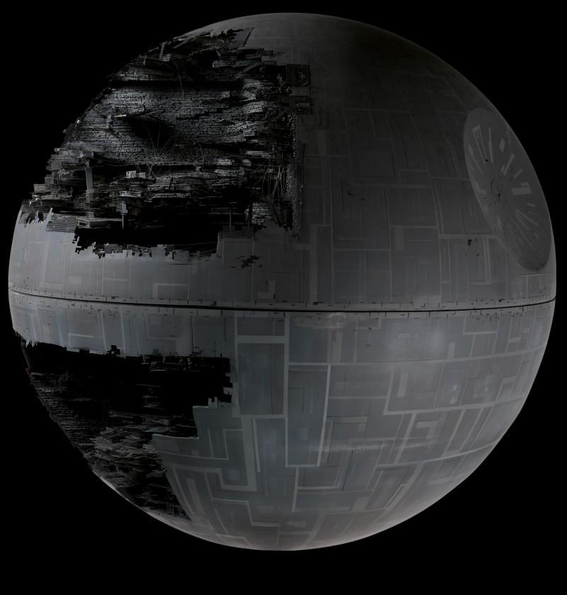 """Modell av """"Dödsstjärnan"""" från Star Wars: Episode VI - Return of the Jedi."""